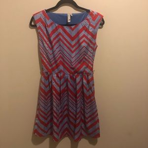 Pink Owl Apparel red and blue chevron dress